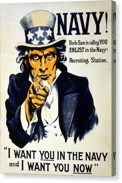 Navy Canvas Print - World War I 1914 1918 American Recruitment Poster 1917 Navy Uncle Sam Is Calling You  by Anonymous