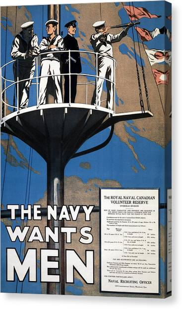 Navy Canvas Print - World War I 1914 1918 Canadian Recruitment Poster For The Royal Canadian Navy  by Anonymous