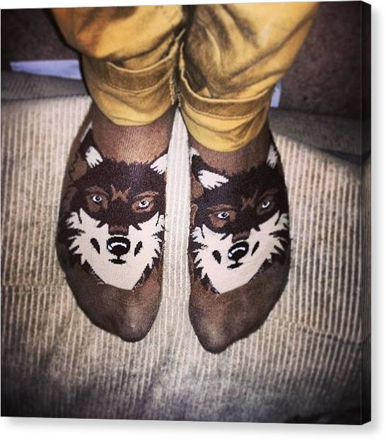 Wolves Canvas Print - Worlds Most Random Sock Design #socks by Charlie Smith