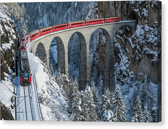 Railroads Canvas Print - World's Top Train - Bernina Express by Roberto Sysa Moiola