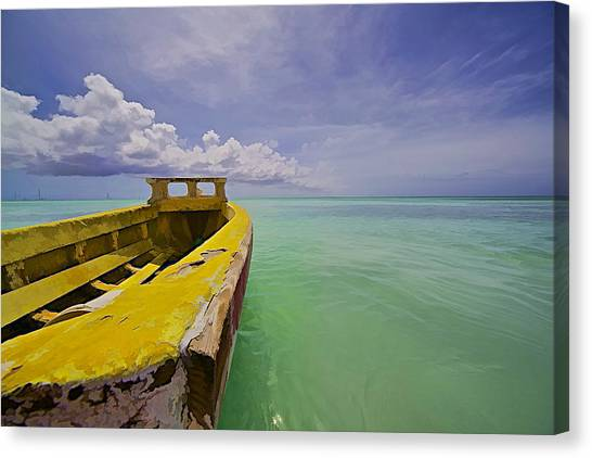 Worn Yellow Fishing Boat Of Aruba II Canvas Print
