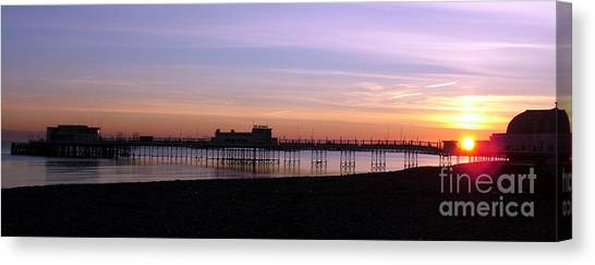 Worthing Pier Sunset Canvas Print by Mark Bowden