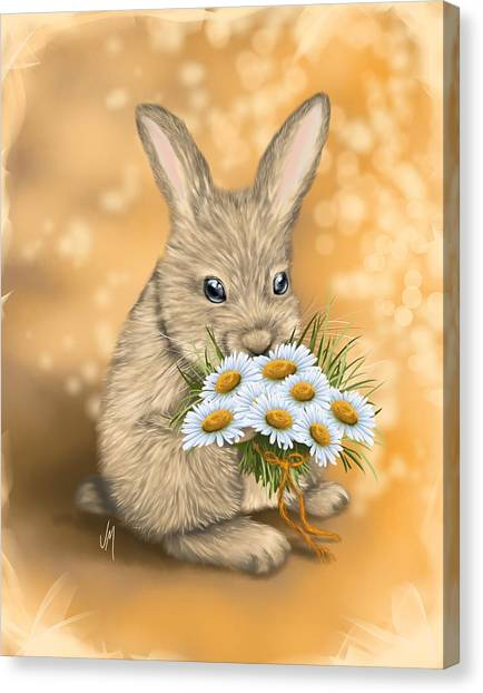 Easter Bunny Canvas Print - Would You Like To Go Out With Me? by Veronica Minozzi