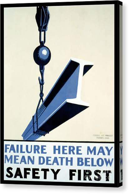 Hard Hat Canvas Print - Wpa Vintage Safety First by Edward Fielding