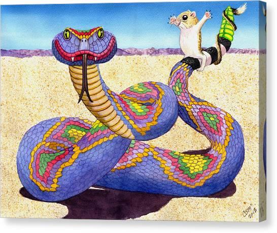 Wrangled Razzle Dazzle Rainbow Rattler Canvas Print