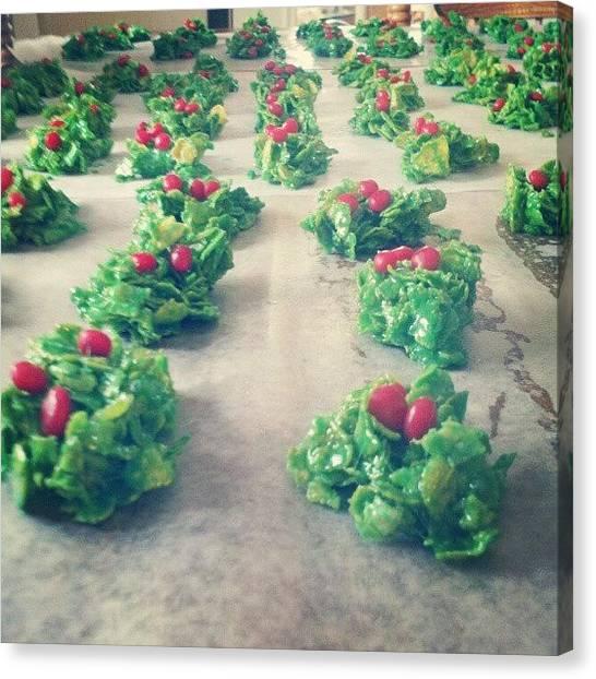 Wreath Canvas Print - Wreath Cookies by Amber Abreu