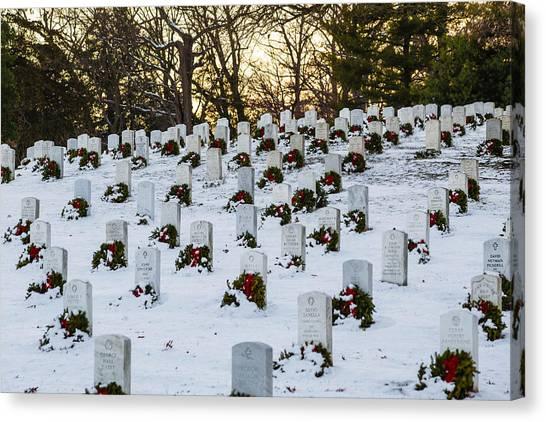 Wreaths At Arlington National Cemetery Canvas Print