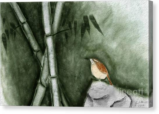 Wren In Bamboo Canvas Print