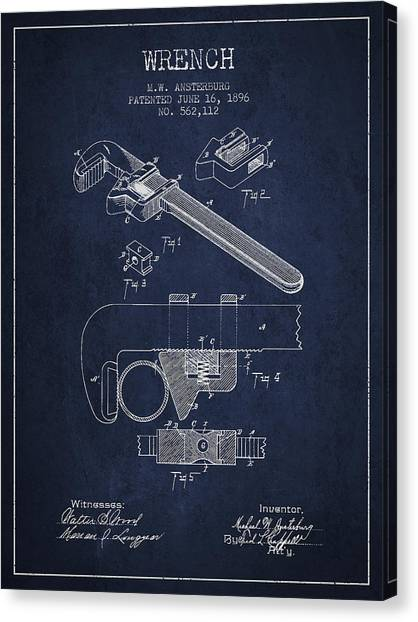 Wrenches Canvas Print - Wrench Patent Drawing From 1896 by Aged Pixel