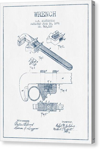Wrenches Canvas Print - Wrench Patent Drawing From 1896- Blue Ink by Aged Pixel