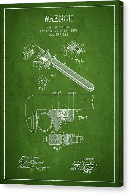 Wrenches Canvas Print - Wrench Patent Drawing From 1896 - Green by Aged Pixel