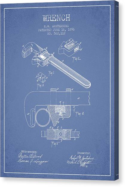 Wrenches Canvas Print - Wrench Patent Drawing From 1896 - Light Blue by Aged Pixel
