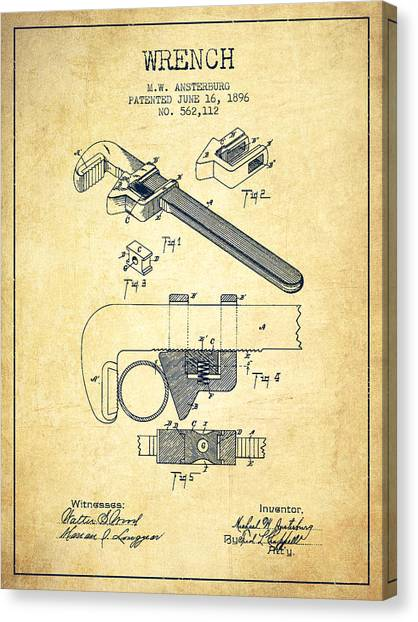 Wrenches Canvas Print - Wrench Patent Drawing From 1896 - Vintage by Aged Pixel