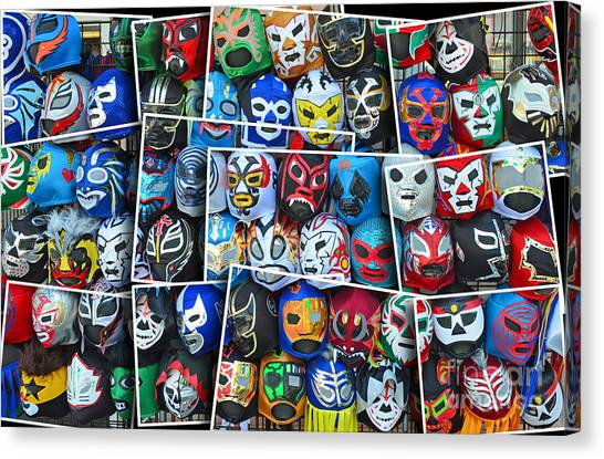 Hulk Hogan Canvas Print - Wrestling Masks Of Lucha Libre Altered II by Jim Fitzpatrick