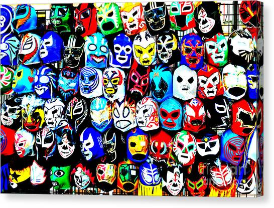Hulk Hogan Canvas Print - Wrestling Masks Of Lucha Libre Altered by Jim Fitzpatrick
