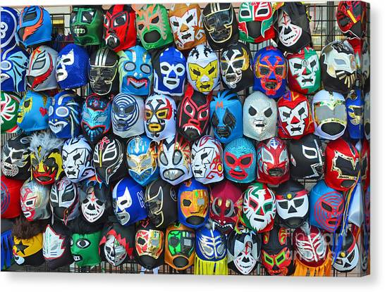 Wwe Canvas Print - Wrestling Masks Of Lucha Libre by Jim Fitzpatrick