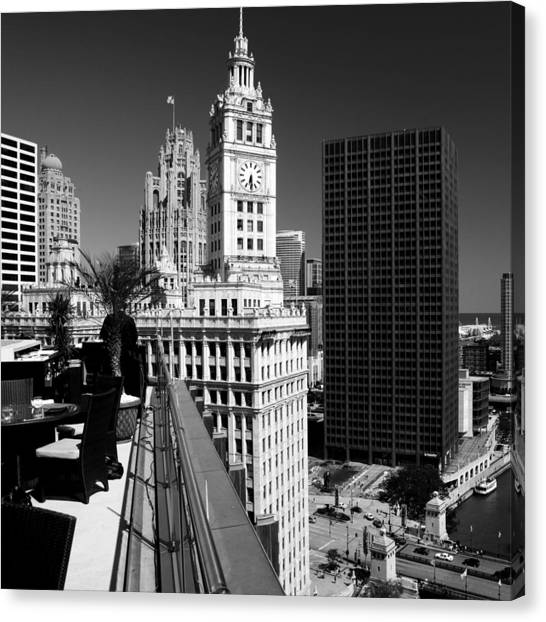 Wrigley Clock Tower Skyline Black White Canvas Print