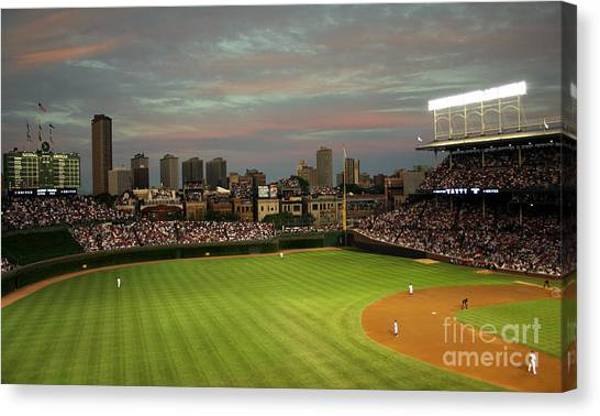 Wrigley Field Canvas Print - Wrigley Field At Dusk by John Gaffen