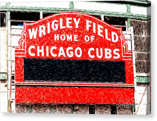 Chicago Cubs Canvas Print - Wrigley Field Chicago Cubs Sign Digital Painting by Paul Velgos