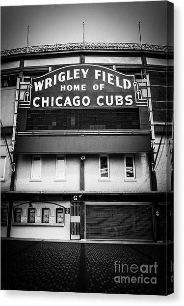 Wrigley Field Canvas Print - Wrigley Field Chicago Cubs Sign In Black And White by Paul Velgos
