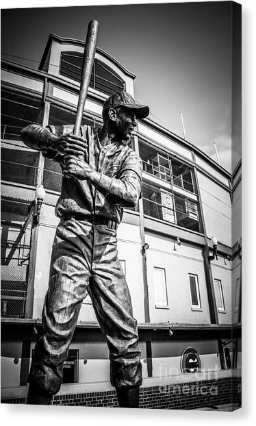 Chicago Cubs Canvas Print - Wrigley Field Ernie Banks Statue In Black And White by Paul Velgos