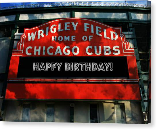 Wrigley Field Canvas Print - Wrigley Field -- Happy Birthday by Stephen Stookey