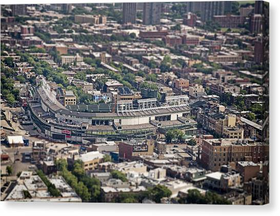 Field Canvas Print - Wrigley Field - Home Of The Chicago Cubs by Adam Romanowicz