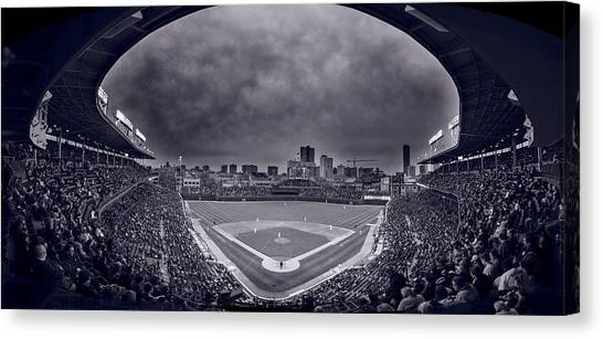 Wrigley Field Canvas Print - Wrigley Field Night Game Chicago Bw by Steve Gadomski