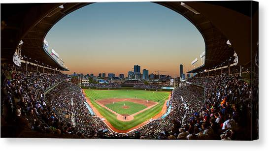 Field Canvas Print - Wrigley Field Night Game Chicago by Steve Gadomski