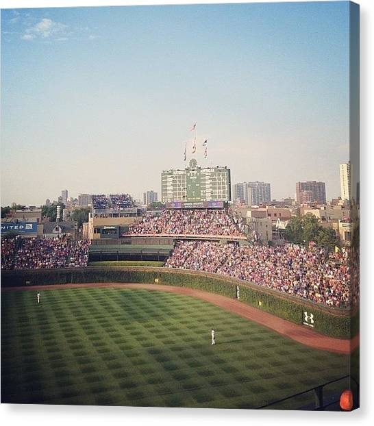 Baseball Canvas Print - Wrigley by Mike Maher