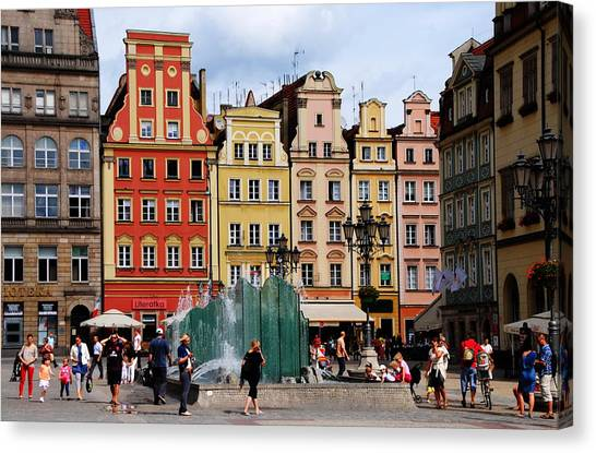 Wroclaw Old Town In Poland Canvas Print by Jacqueline M Lewis