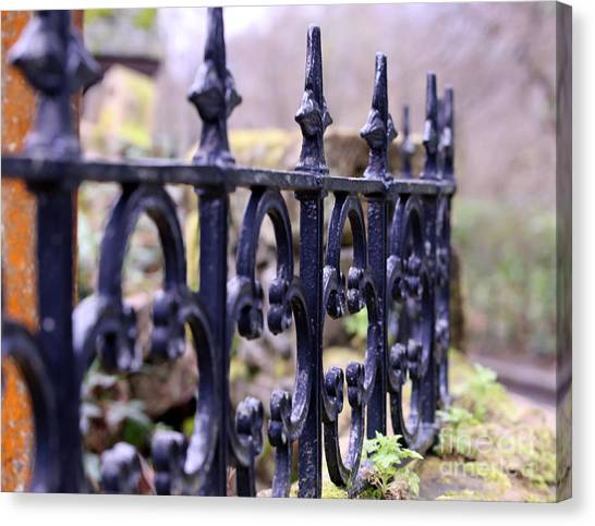 Wrought Iron Fence 1 Canvas Print by Kate Purdy
