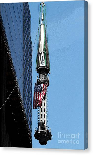 Wtc Spire Going Up Canvas Print