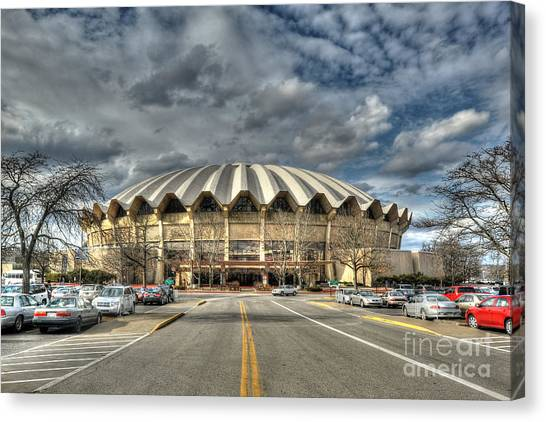Wvu Basketball Coliseum Arena In Daylight Canvas Print by Dan Friend
