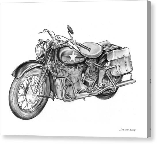 Army Canvas Print - Ww2 Military Motorcycle by Greg Joens
