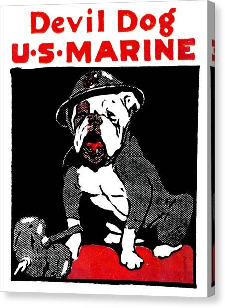 Wwi Marine Corps Devil Dog Canvas Print