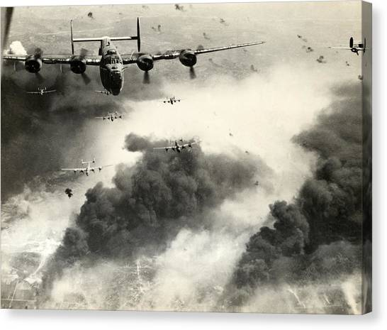 Aviators Canvas Print - Wwii B-24 Liberators Over Ploesti by Historic Image