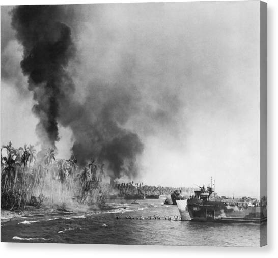 Pollution Canvas Print - Wwii Landing At Leyte Island by Underwood Archives