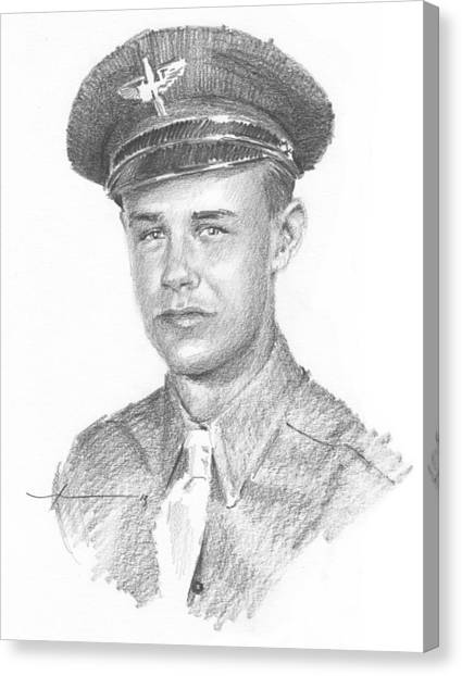 Wwii Military Dad Pencil Portrait Canvas Print by Mike Theuer