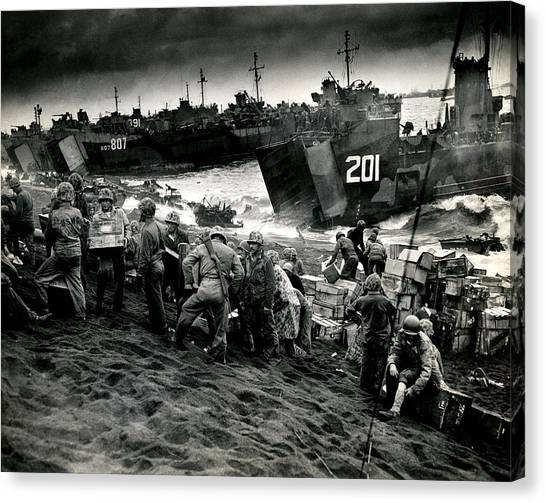 Pacific Division Canvas Print - Wwii Supplies On Iwo Jima by Historic Image