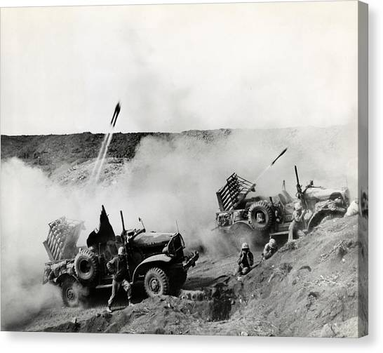 Pacific Division Canvas Print - Wwii Usmc Rockets On Iwo Jima by Historic Image
