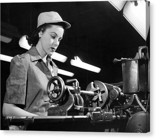 Women Only Canvas Print - Wwii Woman War Worker by Underwood Archives