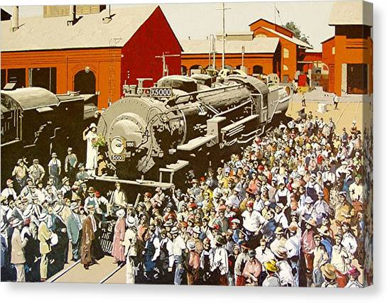 X5000 At The Sacramento Locomotive Works Canvas Print by Paul Guyer