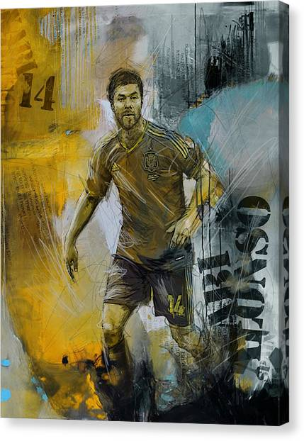 Real Madrid Canvas Print - Xabi Alonso - B by Corporate Art Task Force