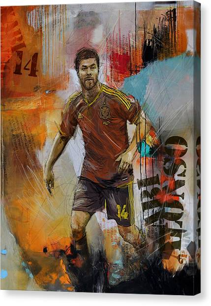 Real Madrid Canvas Print - Xabi Alonso by Corporate Art Task Force