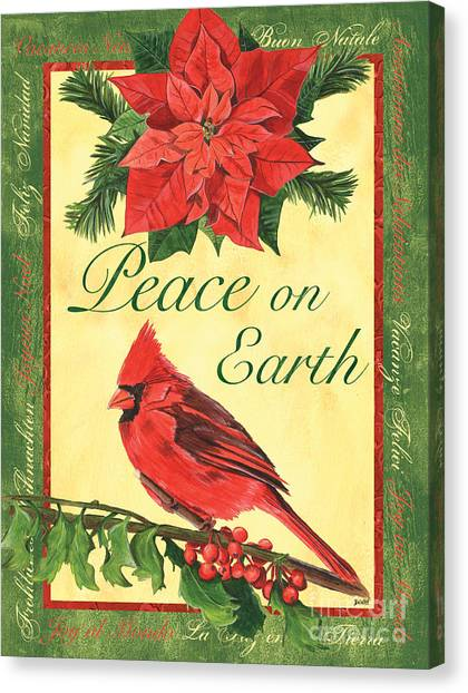 Cardinals Canvas Print - Xmas Around The World 1 by Debbie DeWitt