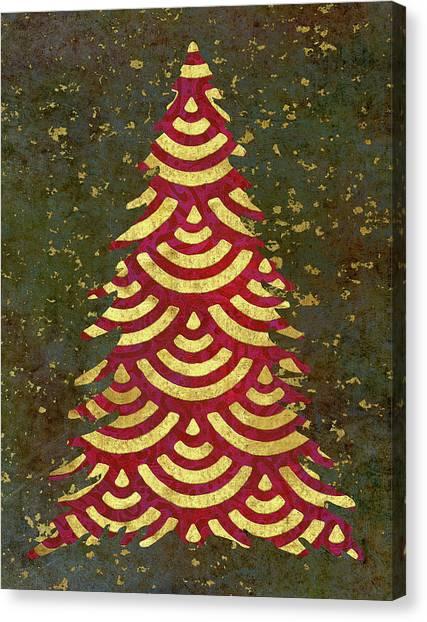 Christmas Tree Canvas Print - Xmas Tree Garland by Cora Niele