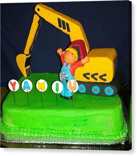 Excavators Canvas Print - Yaaniu Is 3 #birthdaycake #excavator by Ayna Ahmed