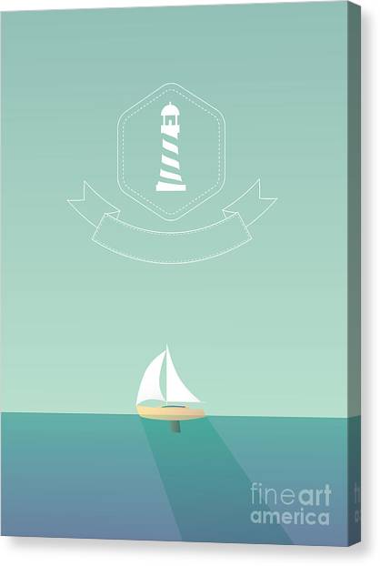Yacht Canvas Print - Yacht Sailing In The Sea. Traveling by Mjgraphics