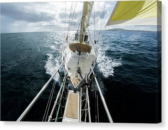 Yacht Sailing On The Southern Ocean Canvas Print by John White Photos